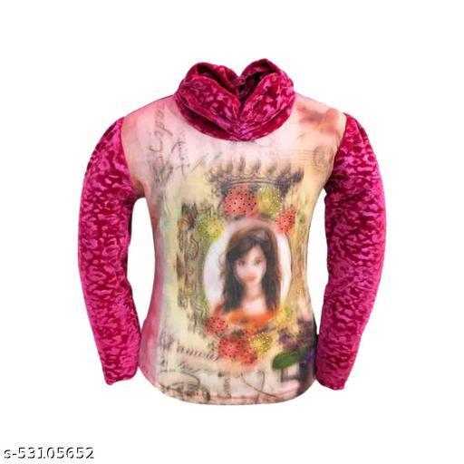 Truffles Girls Pink Full Sleeve Printed Velvet Winter Wear Top
