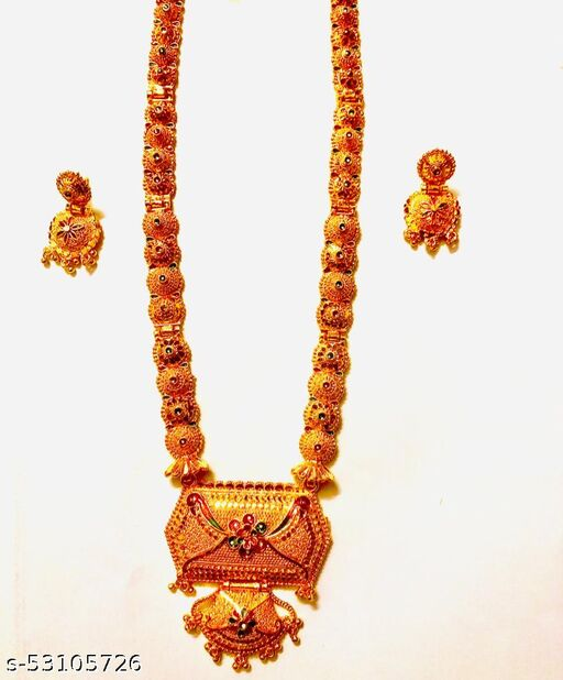 1.5 LONG GOLDEN MANGALSUTRAS WITH TRADITIONAL EARRINGS