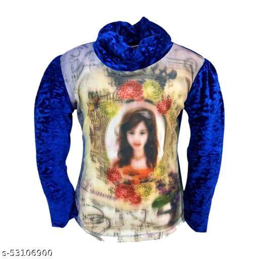 Truffles Girls Blue Full Sleeve Printed Velvet Winter Wear Top
