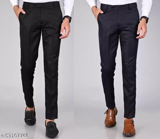 Haul Chic Combo Black NAVY BLUE Polyester Blend Formal Trouser