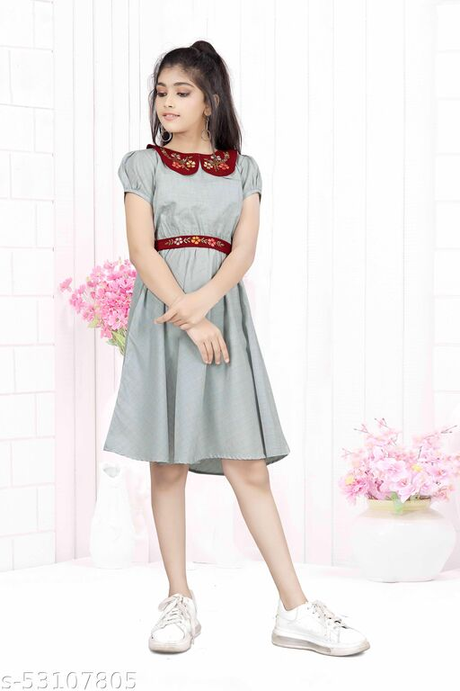Fashion Era Girl's Special Pure Cotton Silk Frock With Very Beautiful Contrast Embroidery Collar And Work Belt.