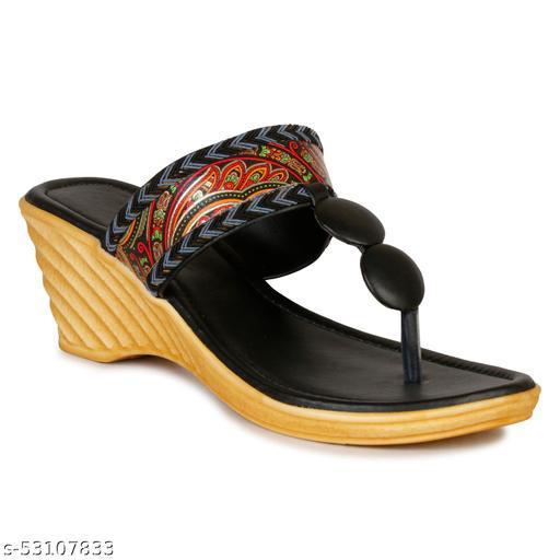 Chinelo Women's Wedges Fashion Heels ( CH-9002 Black )