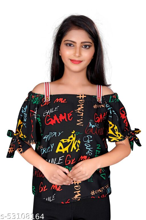 Tejasvi Girls party wear alphabet  print top in crape