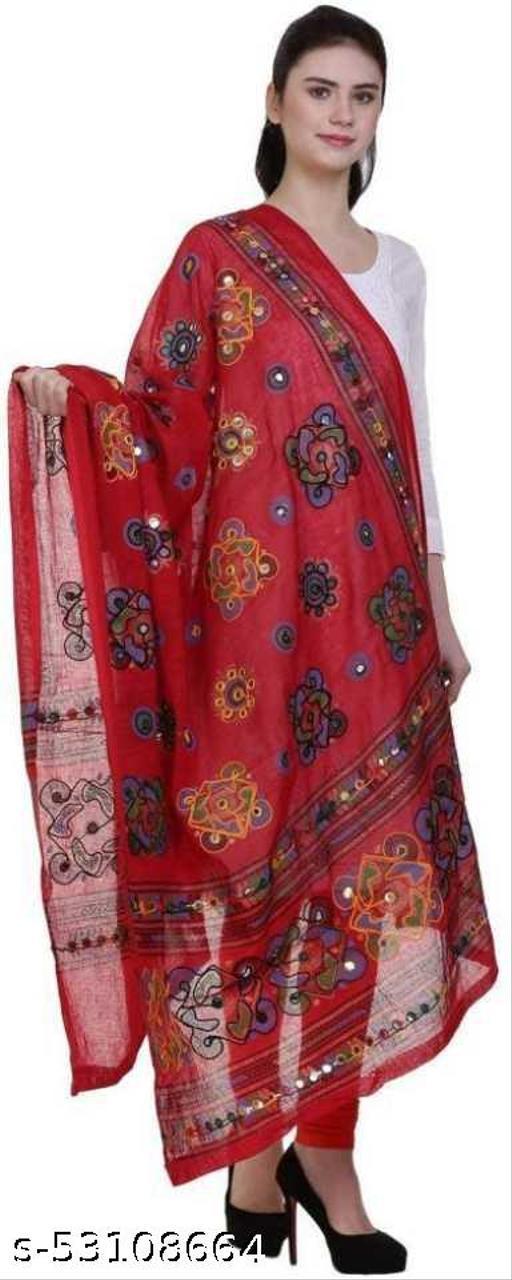 Rajasthani Stylish Cotton Embroidered Mirror Work Dupatta For Women