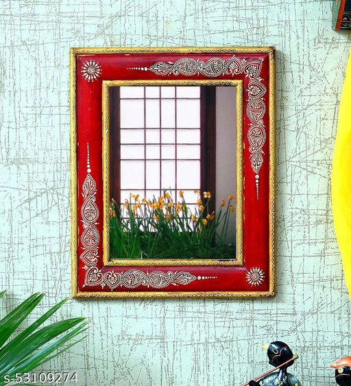 MDF 9X12 Inch Hand Painted Frame Rectange Mirror