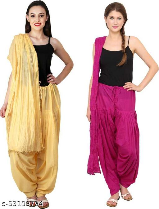DESERT EAGLE women cotton solid patiala salwar with dupatta(free size-42 inch)pack of 2