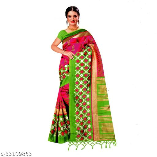 IKKAT FANCY SAREES  {PINK WITH GREEN}