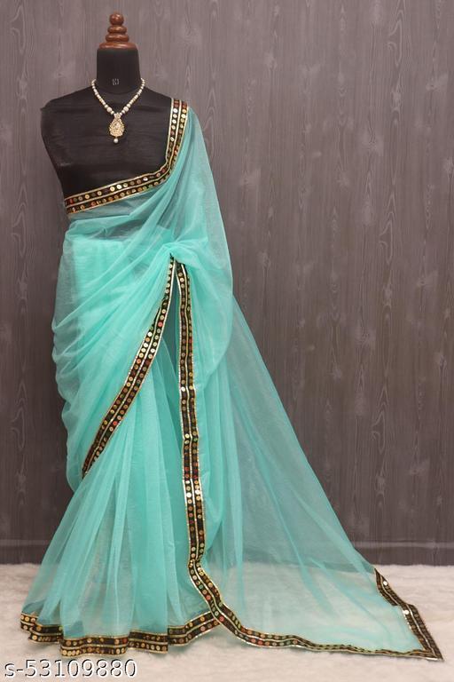 Designer Border Pain Net Saree with Blouse Pieces