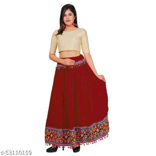 Traditional Heavy Border Lace work ethnic Women Long Skirt