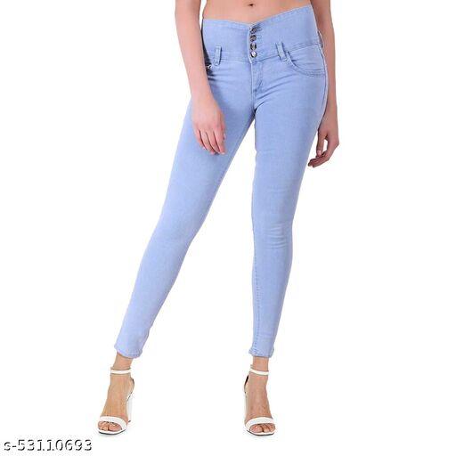 FASHIONABLE EXCLUSIVE WOMEN'S SKINNY FIT JEANS ROUND POCKET