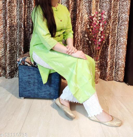 Womens Green Casual Straight kurti with Khaddi Work
