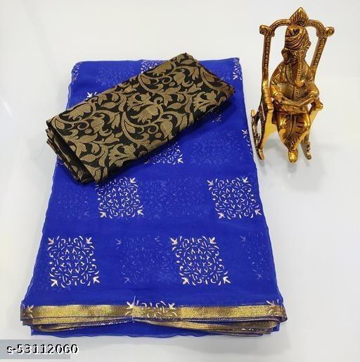 POSHNIKA Beautiful & Elegant Foil Printed Chiffon Silk Saree