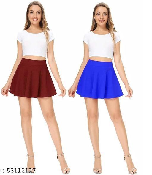 RL Fashion Women Stretch Waist Flared Mini Skater Short Skirt_Maroon-R.Blue