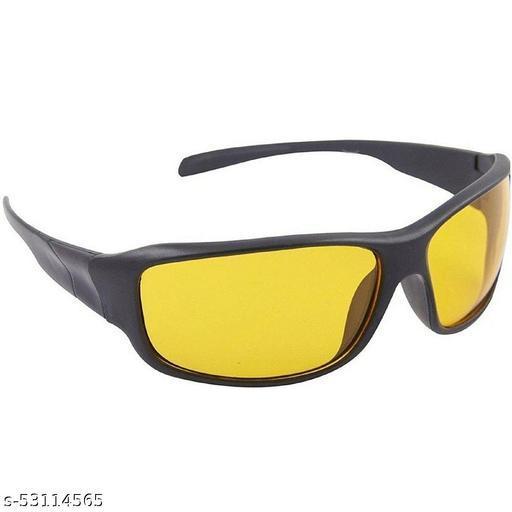 Black Frame Yellow Shade Lense Night Vision Biker Sports Sunglasses for Men & Women