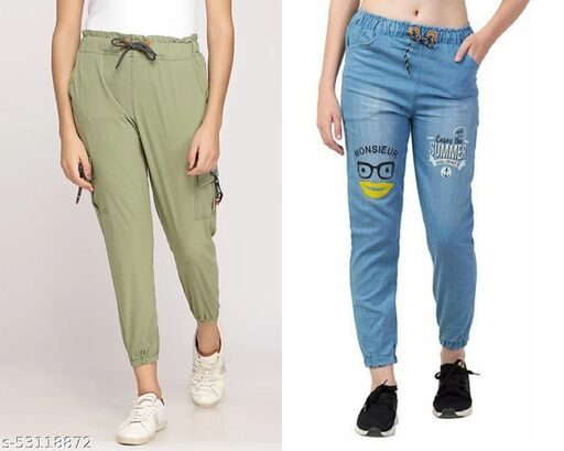 Trendy toko jogger track pant and denim jogger combo pack of 2 pc - stretchable with elasticated waist