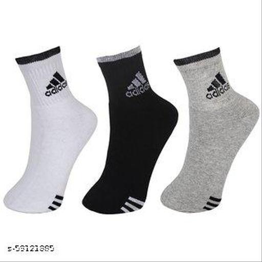 Adidas Multicolour Cotton Ankle Length Socks for Men - Pack of 3 (