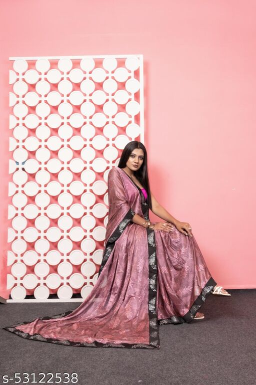 Lycra Blend Saree with embellished lace border