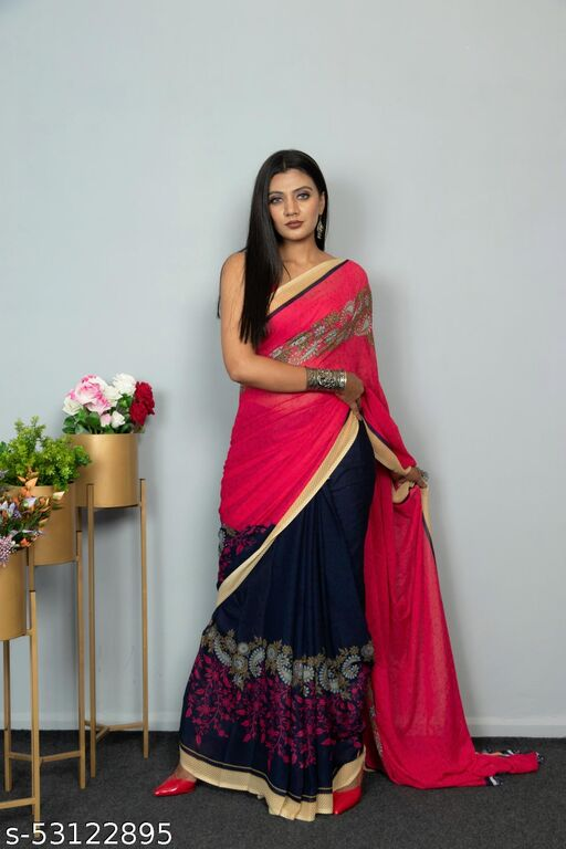 Fabulous Georgette Saree with Blouse Piece