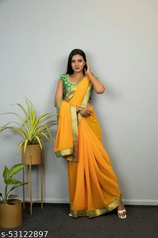 Yellow, Chiffon , laced border Saree with Jacquard unstitched blouse piece