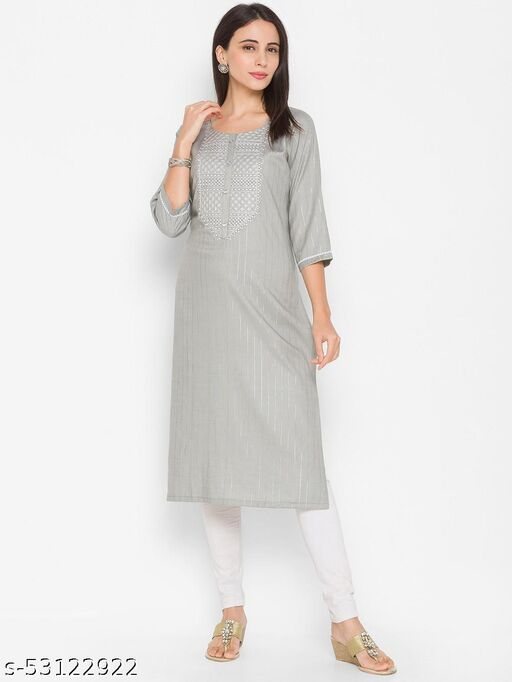 Zola Rayon Round Neck Embroidered Grey Casual Wear Kurti For Women