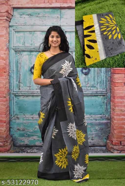 Woman Cotton Mulmul Sarees With Blouse