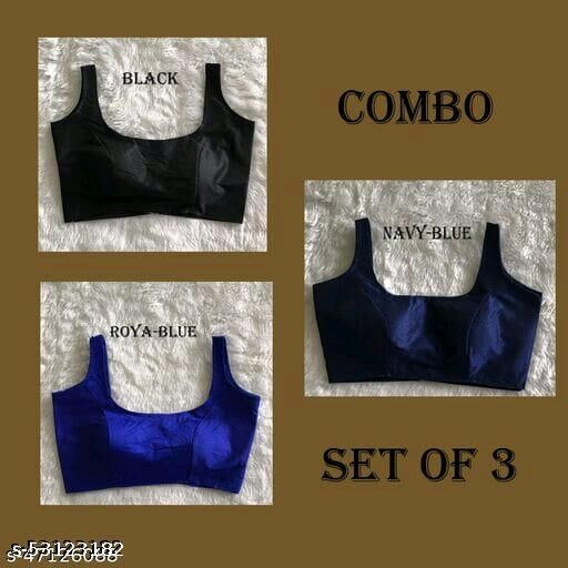 TEJAL WOMEN READYMADE BLOUSE BLACK-BLUE COMBO WITH SANDO SET OF 3
