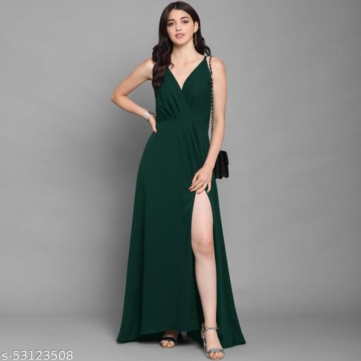 Women's Floor Length Deep V Neck Dress Western Wedding Guest Dress