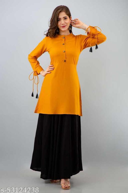 yellow kurti skirt set