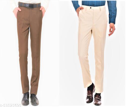 Maleno Slim Fit Brown & Cream Trousers