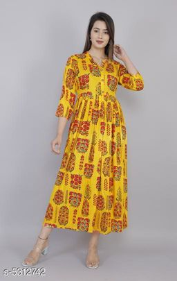 Women Rayon Pleated Printed Yellow Kurti
