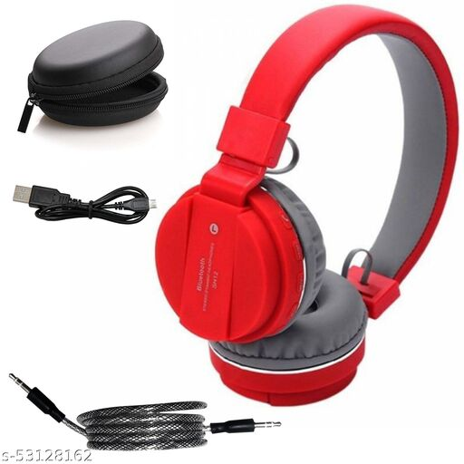 Sports Foldable Wireless Bluetooth Over the Ear Headphone with Mic (Red)