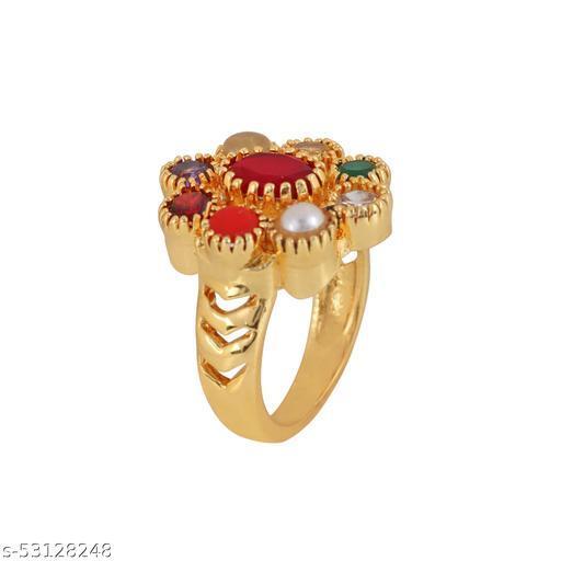 Navratna gold plated ring