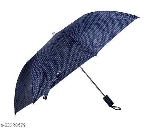 Umbrella 2 Fold Auto Open Waterproof 190 T Polyester Double Coat Silver Lined Checks Design Matching Handle Umbrella For Men and Women