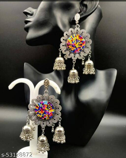 Earring Jhumkas For Girls And Women Oxidised German silver