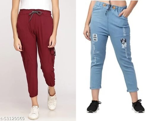 girls combo pack of denim jogger pants and toko stretchable jogger - pack of 2 pc - with pockets attached