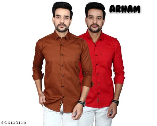 MEN PREMIUM COTTON CASUAL  FULL SLEEVES COMBO-2 SHIRTS-BROWN-RED