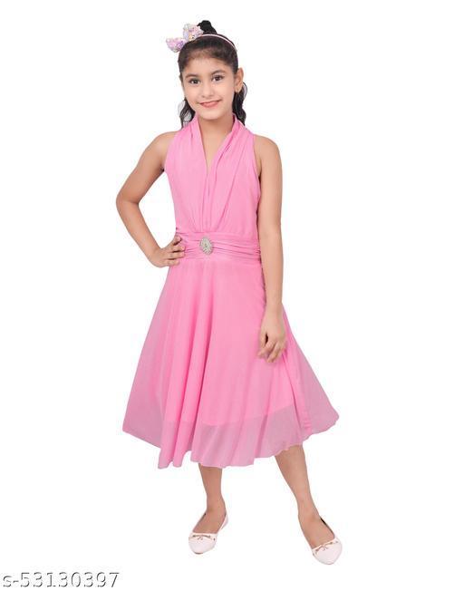 Sniffy Girls Designer Sleeveless Pink Frock