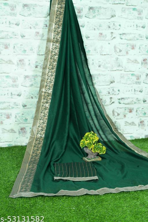 Chiffon Saree With Designer Lace Border (Green)