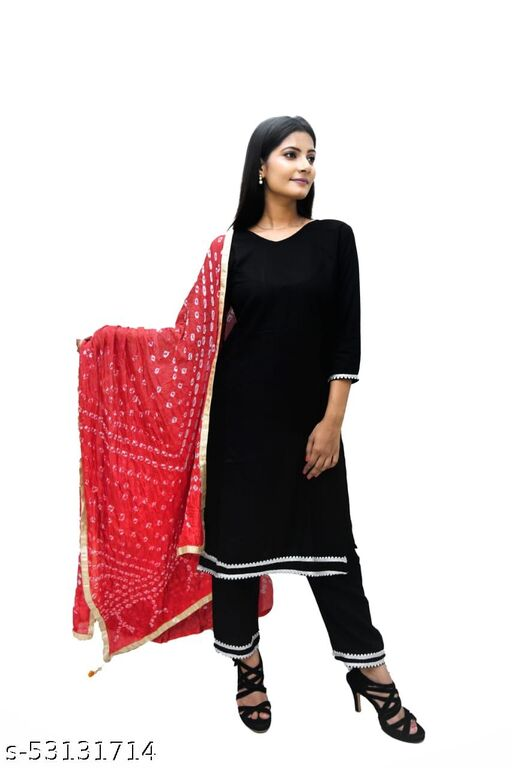 Rayon lace work straight kurti with pant and bhandej Dupatta