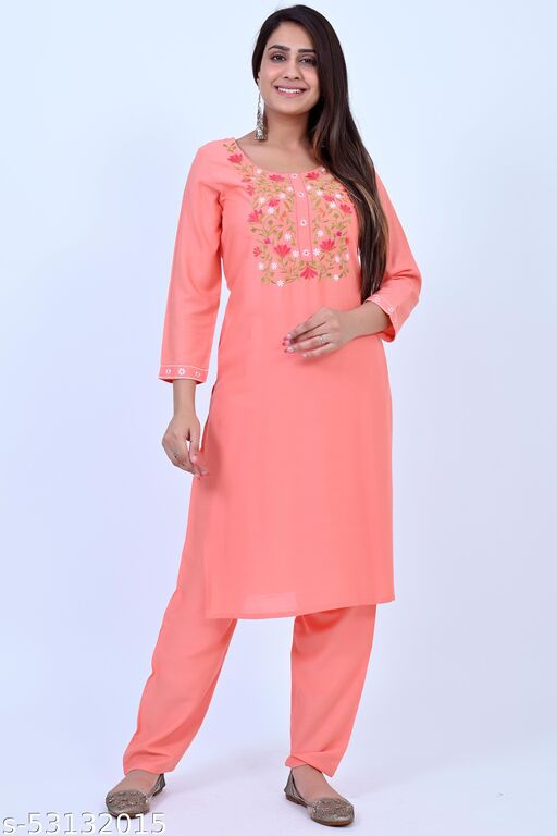 Atractive Rayon Embroidered Kurta With Palazzo For Women's and Girls