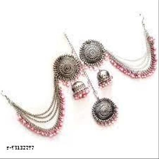 Bahubali earring and mangtika set queen pink jewellery  sets