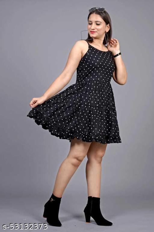 The Nayahika's Black Fancy Rayon Dress