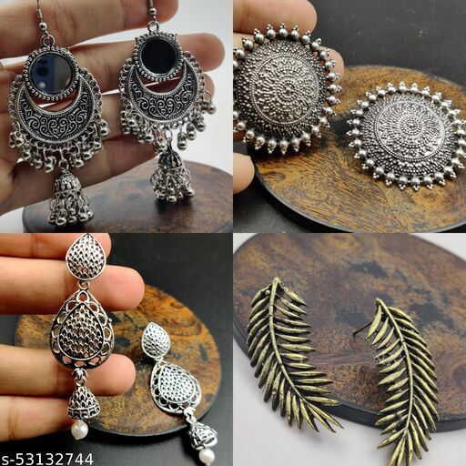 Traditional Silver Oxidised Jhumki Earrings Combo for Women and Girls - Set of 4