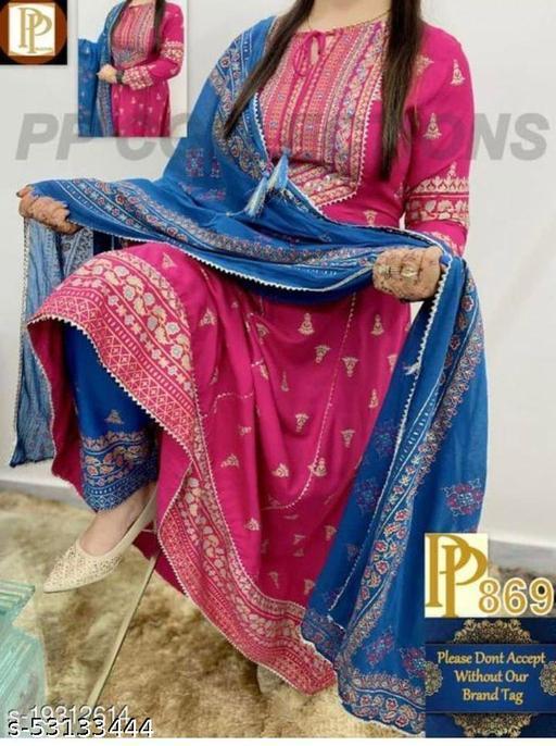 LATEST WOMEN FASHIONABLE  BELL PRINTED PINK ANARKALI KURTA PANT SET