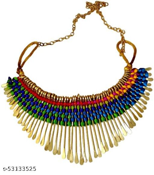 Multicolor thread worked choker