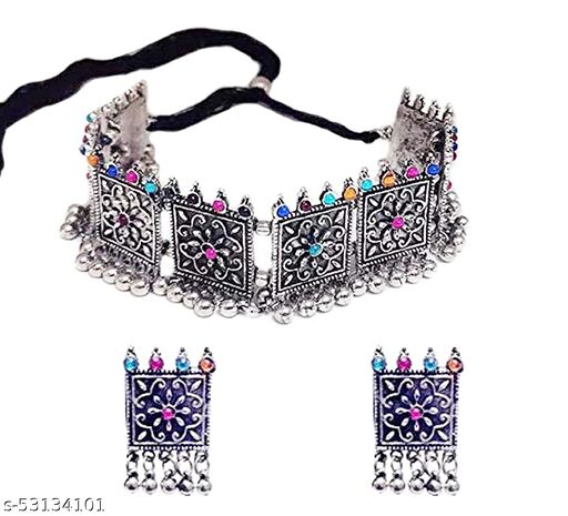 Zooniv Oxidised Silver Multicolor Jewellery Set For Women