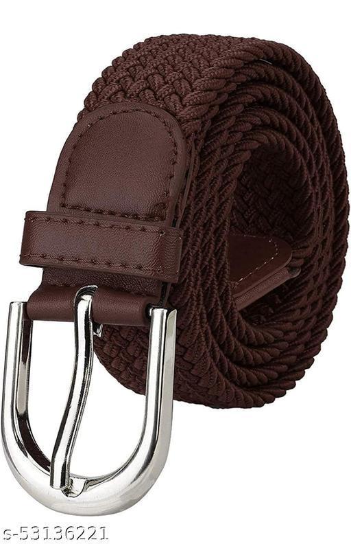 Dark brown color men's solid party wear fabric belt