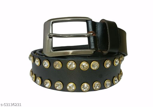 Black color men's solid party wear leather belt