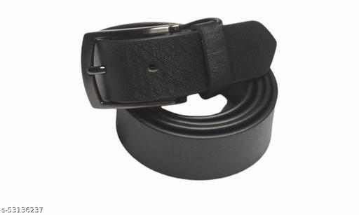 Black color men's solid leather belt