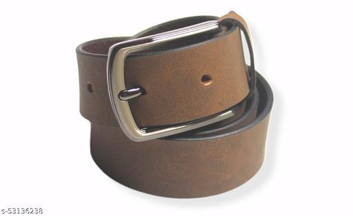 Brown color men's solid leather belt